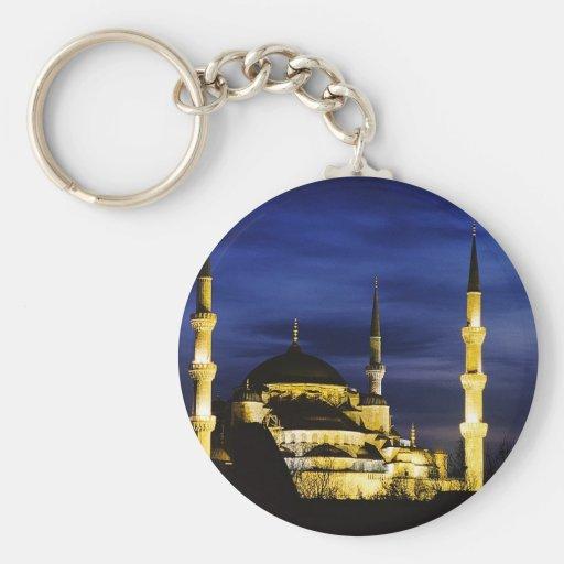 Mezquita de Yeni Valide en la noche Llaveros Personalizados