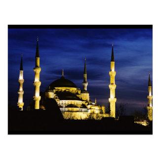 Mezquita de Yeni Valide en la noche Tarjetas Postales