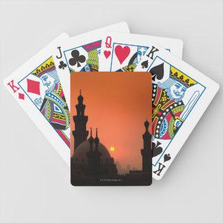 Mezquitas en la puesta del sol cartas de juego