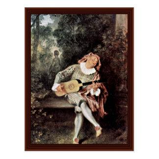 Mezzetin By Antoine Watteau Postcards