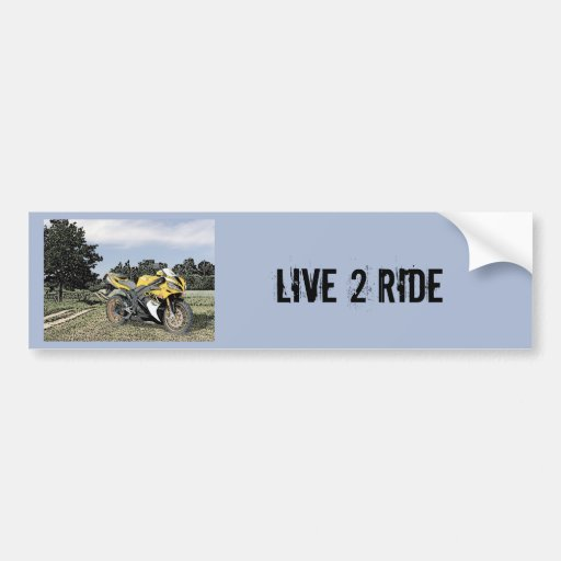 Mezzotint Countryside and Yellow Motorcycle Bumper Sticker