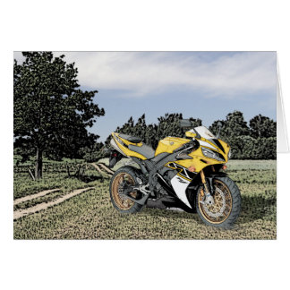 Mezzotint Countryside and Yellow Motorcycle Greeting Cards