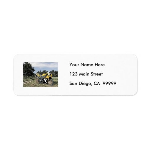 Mezzotint Countryside and Yellow Motorcycle Return Address Label