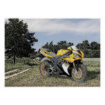 Mezzotint Countryside and Yellow Motorcycle Posters