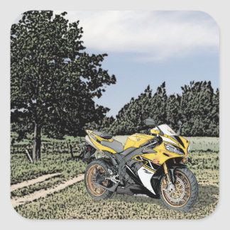 Mezzotint Countryside and Yellow Motorcycle Square Sticker