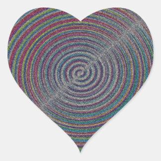 mezzotint SANDY BEACH SWIRLS PIXELATED COLORFUL A Heart Sticker