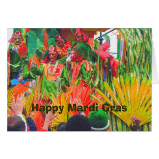MG Colorful float and riders, Happy Mardi Gras Card