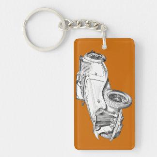 MG Convertible Antique Car Illustration Double-Sided Rectangular Acrylic Keychain