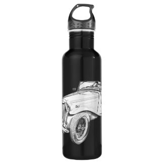 MG Convertible Antique Car Illustration 24oz Water Bottle
