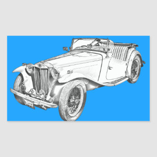 MG Convertible Antique Car Illustration Rectangular Sticker