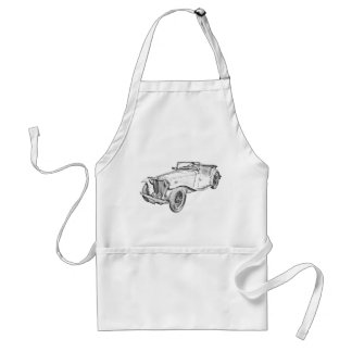 MG Convertible Antique Sports Car Illustration Adult Apron