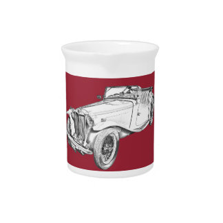 MG Convertible Antique Sports Car Illustration Beverage Pitchers