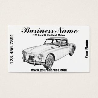 MG Convertible Sports Car Illustration Business Card