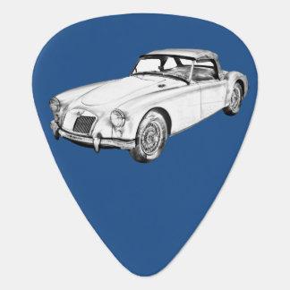 MG Convertible Sports Car Illustration Guitar Pick
