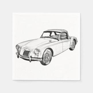 MG Convertible Sports Car Illustration Disposable Napkin