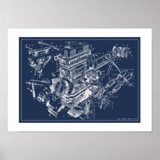 "MG Midget ""TF"" Engine Schematic Poster - BluePrint"