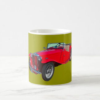 MG rojo Sportscar antiguo convertible Taza De Café
