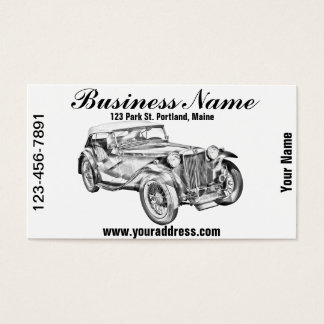 Mg Tc Antique sports Car Illustration Business Card