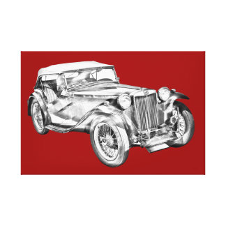 Mg Tc Antique sports Car Illustration Canvas Print