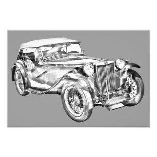 Mg Tc Antique sports Car Illustration Photograph