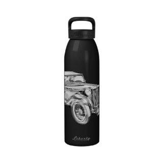 Mg Tc Antique sports Car Illustration Water Bottles