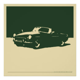 MGB, 1971 - British Racing Green on cream Poster