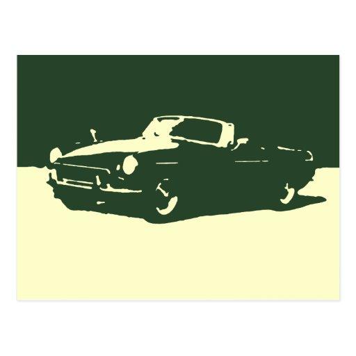 MGB, 1971 - Racing green on light postcard