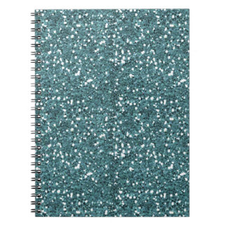 MGTG TEAL GREEN GLITTER-TEXTURED BACKGROUND TEMPLA SPIRAL NOTE BOOK