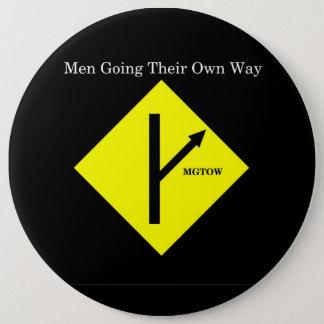 MGTOW Logo Button-XXLarge Size-Black Background Button