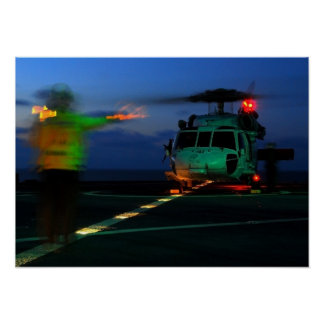 MH-60 Seahawk Helicopter Landing at Sea Posters