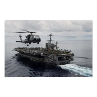 MH-60R Sea Hawk departs the USS John C Stennis Poster