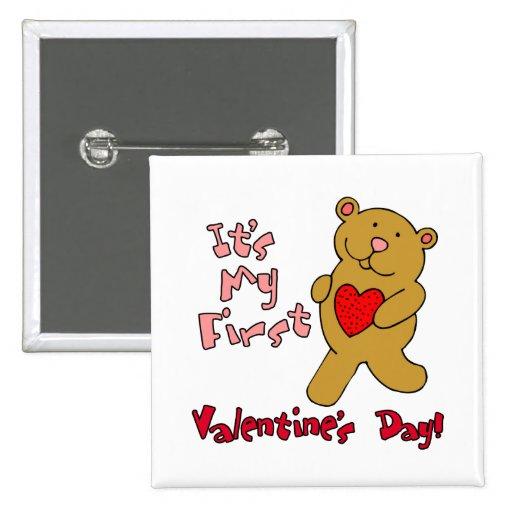Mi 1r el día de San Valentín Pin Cuadrada 5 Cm