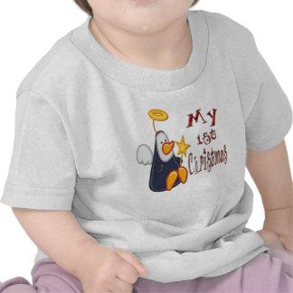 Mi 1r navidad - camiseta del niño del ángel del pi