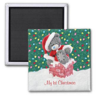 Mi 1r navidad - imán del oso de peluche de Santa