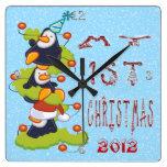 Mi 1r navidad - reloj de pared de los pingüinos