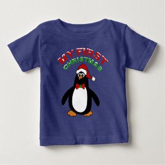 Mi 1r pingüino del navidad playera de bebé