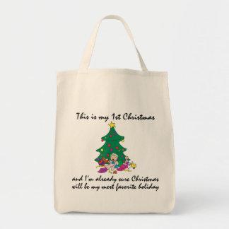 Mi 1r regalo del navidad bolsa tela para la compra