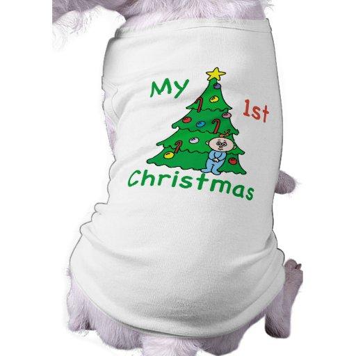 Mi 1ra camisa del navidad para los perros playera sin mangas para perro
