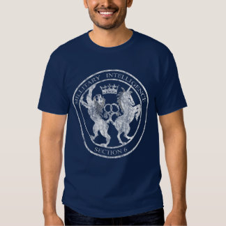 MI-6 Secret Service Logo White Distressed Tee Shirt