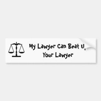 Mi abogado puede batir para arriba a su abogado pegatina para auto