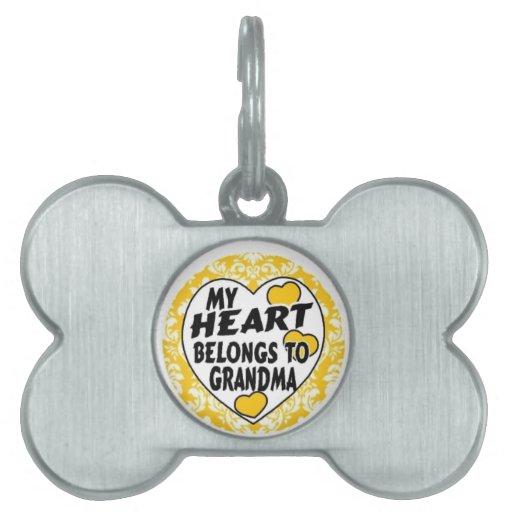 mi abuela del corazón - amarillo placas de mascota
