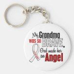 Mi abuela es un cáncer de pulmón del ángel llavero personalizado