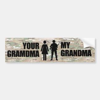 Mi abuela está en los militares pegatina de parachoque