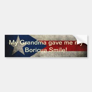 ¡Mi abuela me dio mi sonrisa de Boricua! Pegatina Para Auto