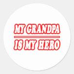 Mi abuelo es mi héroe pegatinas redondas