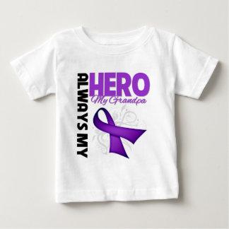 Mi abuelo siempre mi héroe - cinta púrpura playera de bebé