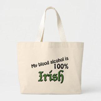 Mi alcohol en sangre es irlandés del 100% bolsa tela grande