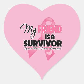 Mi amigo es un superviviente - cáncer de pecho pegatina en forma de corazón
