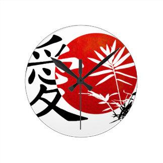 Mi amor #3 del kanji reloj redondo mediano