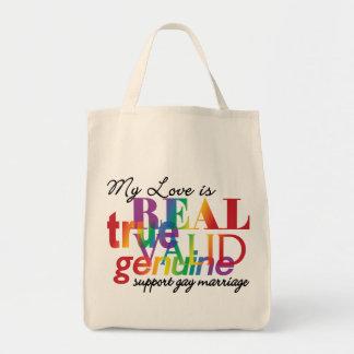 Mi amor es matrimonio homosexual real de la ayuda bolsa tela para la compra